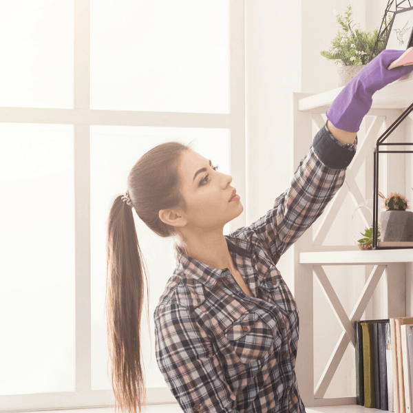 woman decluttering the house