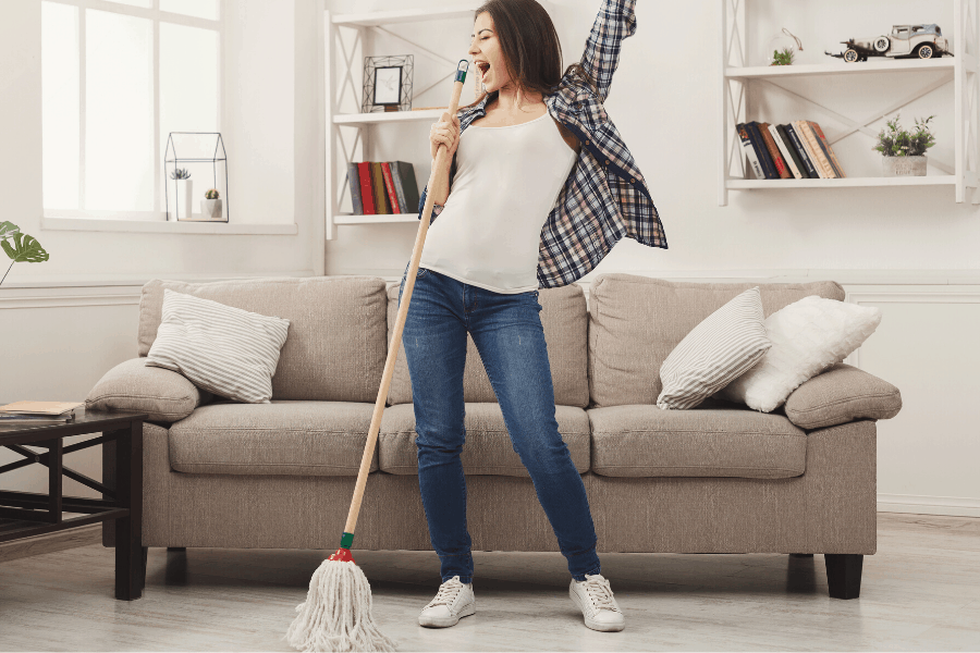 woman mopping a floor