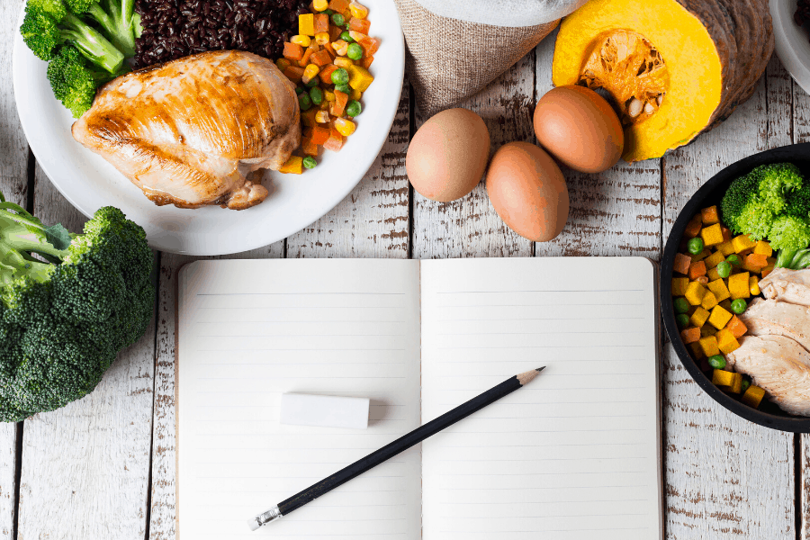 food with notebook