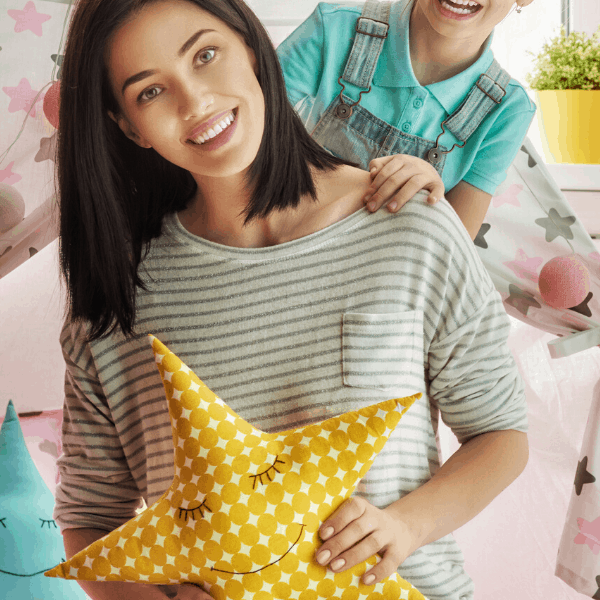mom holding a stuffed star