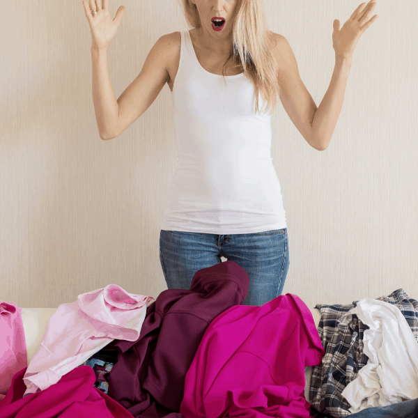 woman overwhelmed by a messy house