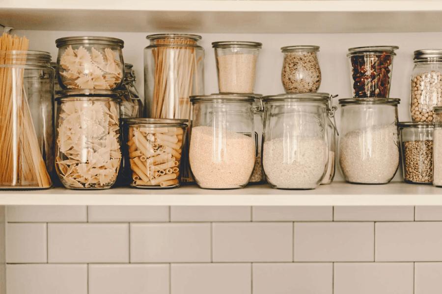 jars of food in a pantry