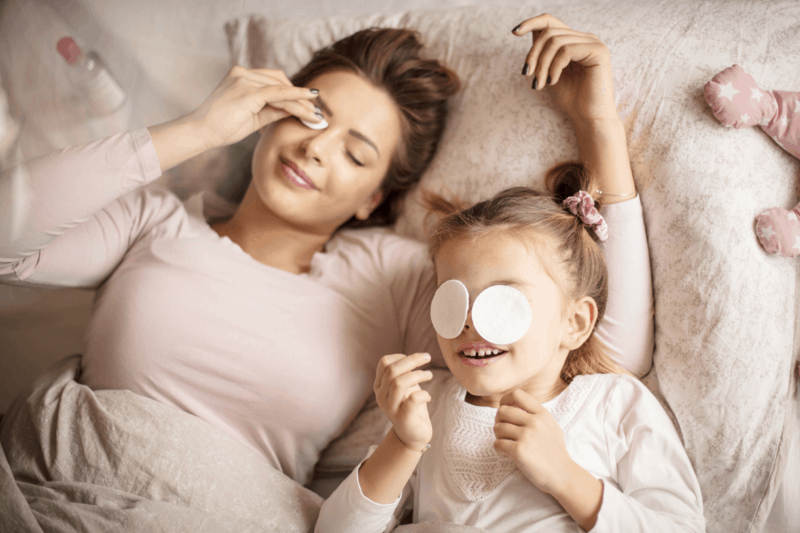 mom and daughter finishing night routine
